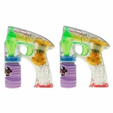 2x bellenblaas speelgoed pistool met led licht 14 cm