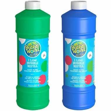 2x flessen bellenblaas navulling 1 liter per fles