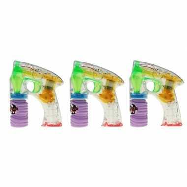 3x bellenblaas speelgoed pistool met led licht 14 cm