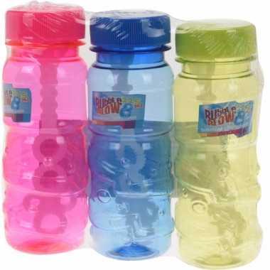 Gekleurde bellenblaas flesjes 3 stuks 115ml roze/blauw/groen
