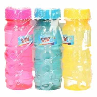 Gekleurde bellenblaas flesjes 6 stuks 115ml roze/blauw/geel
