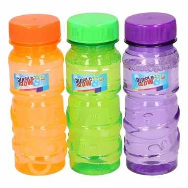 Gekleurde bellenblaas flesjes 9 stuks 115ml groen oranje paars